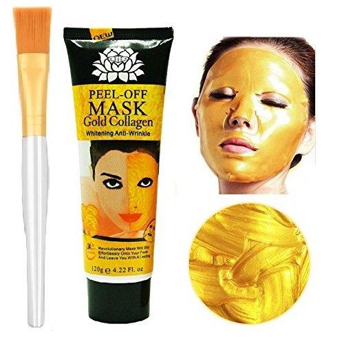 24k Gold Collagen Peel-off Facial Mask with Skin Soft Brush Applicator, Whitening Anti-Wrinkle Face Masks Skin Care Face Lifting Firming Moisturize 4.22 Fl.oz