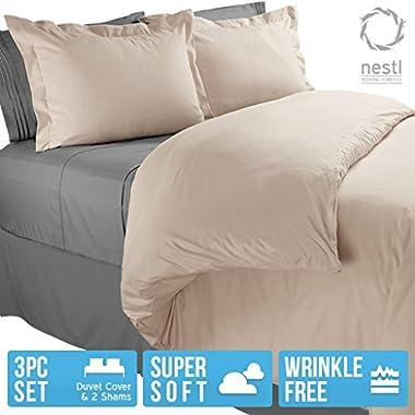 Nestl Bedding Microfiber Queen 3-Piece Duvet Cover Set, Beige Cream