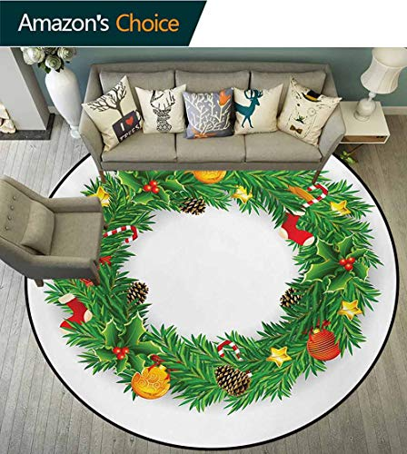 - RUGSMAT Christmas Non-Slip Area Rug Pad Round,Festive Wreath Evergreen with Candy Cane Stockings Mistletoe Berries On Door Protect Floors While Securing Rug Making Vacuuming,Diameter-51 Inch