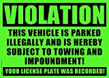 50 GREEN VIOLATION - NO PARKING - TOWING Sticker - No Parking stickers