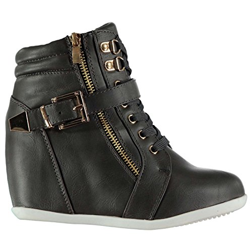 Full Circle Womens Zip Wedge Boots Casual Shoes Lace Up Buckle Fastening Padded Charcoal RWhHwHK3d