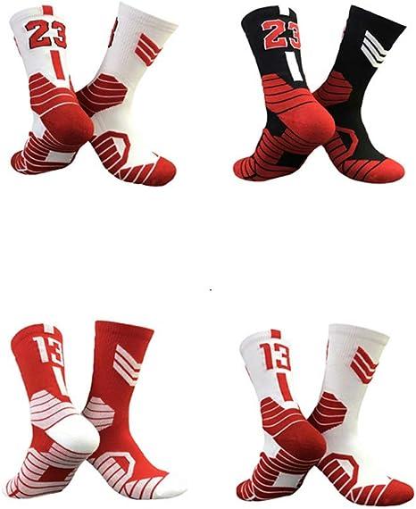 Lot de 2 Paires de Chaussettes -Bulls WWJJE Chaussettes de Basket-Ball avec Logo de Basket-Ball Longueur Ras du Cou