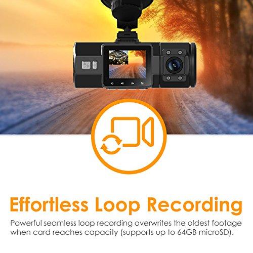 Vantrue N2 Pro avant arrière Dash Cam Dual Camera 1080p Caméra de voiture Tableau de bord Cam DVR Enregistreur vidéo avec super Vision de nuit, mode Parking, capteur G, enregistrement en boucle et vue de 80%OFF