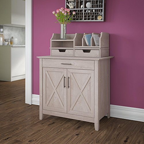 Bush Furniture Key West Secretary Desk with Desktop Organizers in Washed Gray