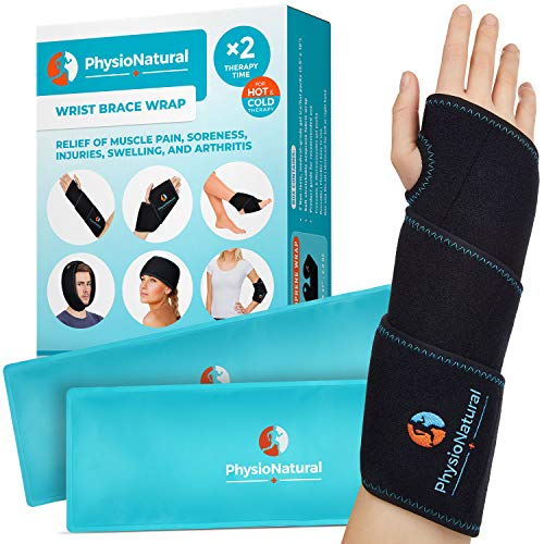 Wrist Ice Pack Wrap - Hot & Cold Therapy for Instant Pain Relief of Carpal Tunnel, Tendonitis, Injuries, Swelling, Rheumatoid Arthritis, Bruises & Sprains - Hand Support Brace with Reusable Gel Packs (Tunnel Carpal Ankle)