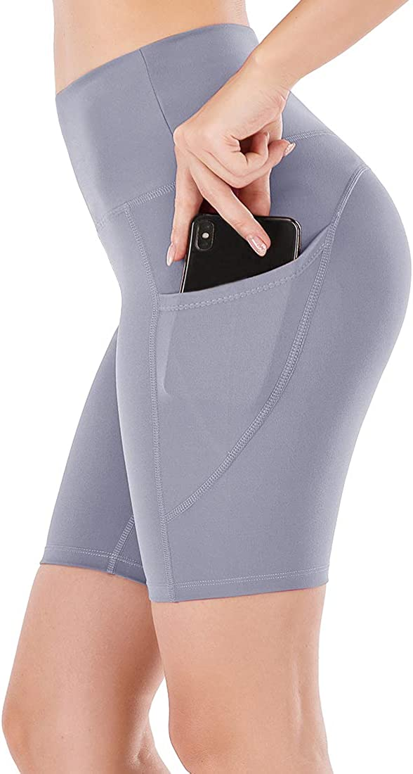 Lianshp High Waist Yoga Shorts for Women Tummy Control Athletic Workout Running Shorts with Pockets 8