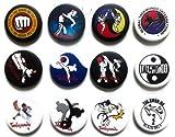 TKD Taekwondo (5) Awesome Quality Lot 12 New Pins Pinback Button Badge 1.25 Inch