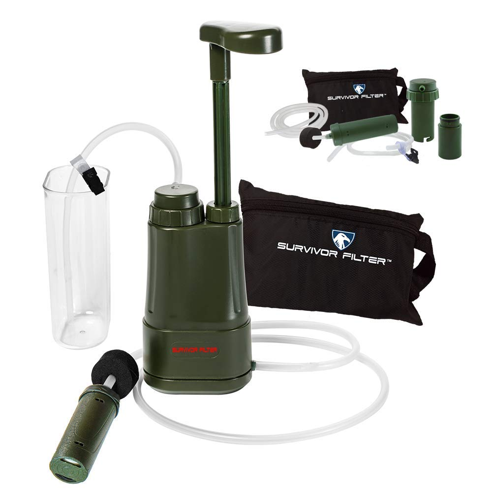 Survivor Filter PRO Hydration Extender Pump with Extra Filters and Backwashing System – 0.01 Micron Water Filter for Camping, Emergency Preparedness, Hiking and Emergency.