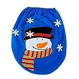 BESTOYARD Blue Snowman Toilet Seat Cover for Bathroom Christmas Home Decorations Supplies