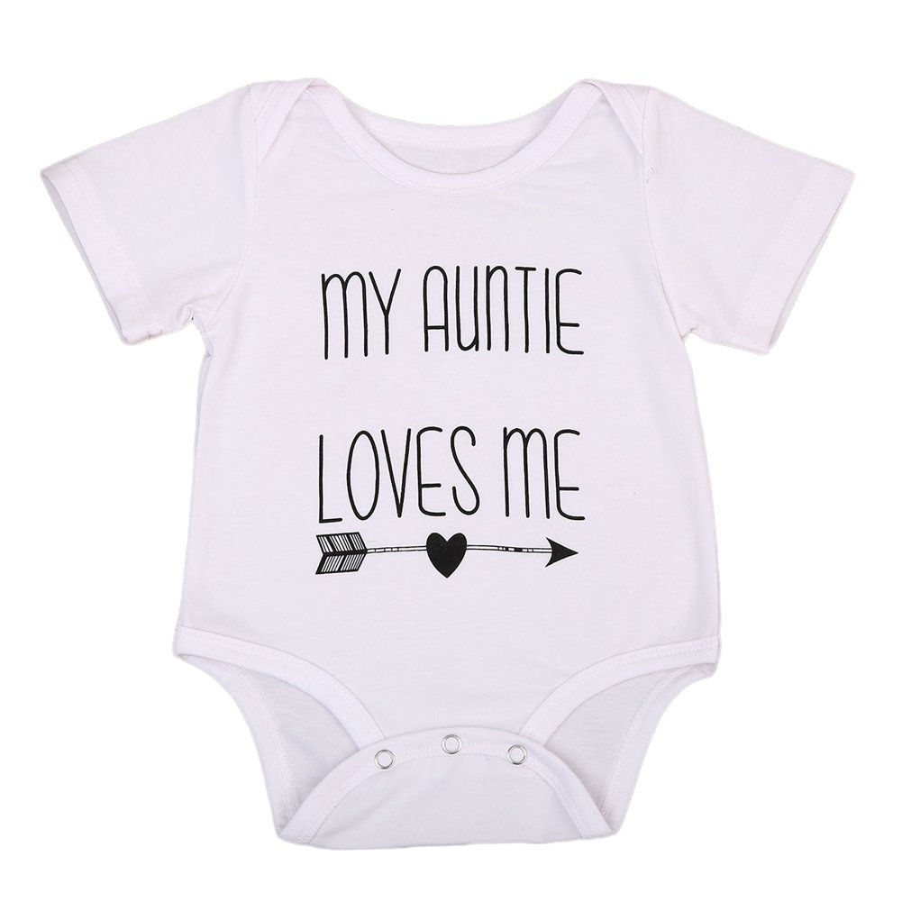 Cotton Newborn Infant Baby Boys Girls Short Sleeve Aunt Bodysuit Romper Outfit Clothes White)