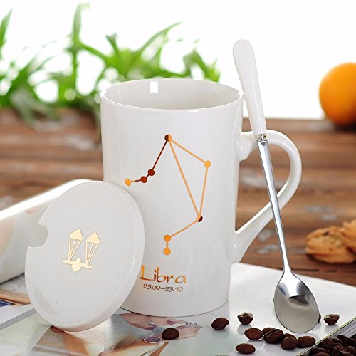 WU-Mug Creative 12 Constellation Cup Ceramic mug of water bowl with lid spoon bone china couples coffee cup tea cup, Libra Cup