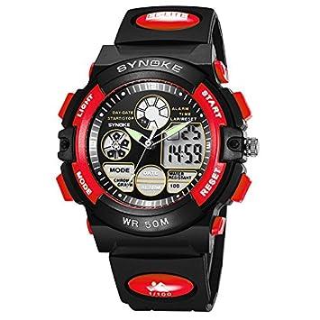 WMWMY Los Deportes Masculinos 50 medidor LED Reloj Digital Impermeable Reloj Cronómetro Dual Time Reloj de Regalo,Rojo: Amazon.es: Electrónica