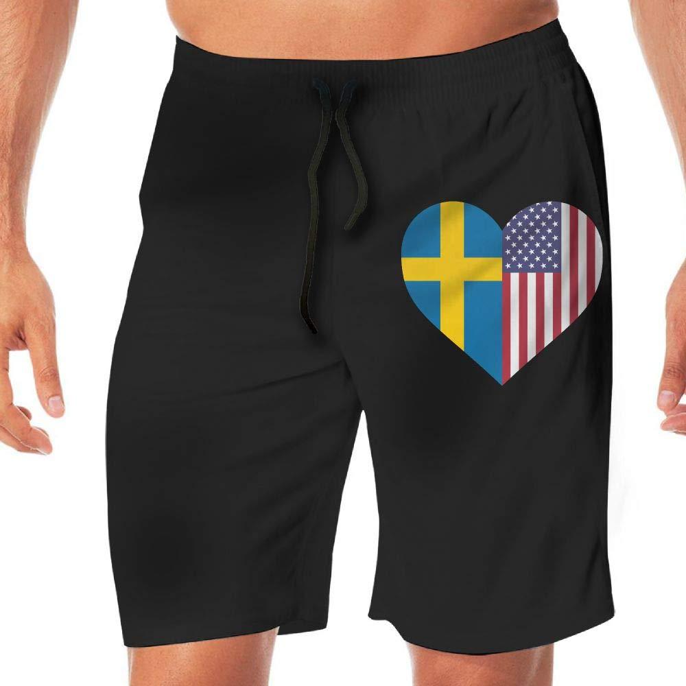 YGE.I.L25 Men Swimming Shorts Sweden Flag Half America Flag Half Heart Shaped Lightweight Beach Board Short Adults Boys