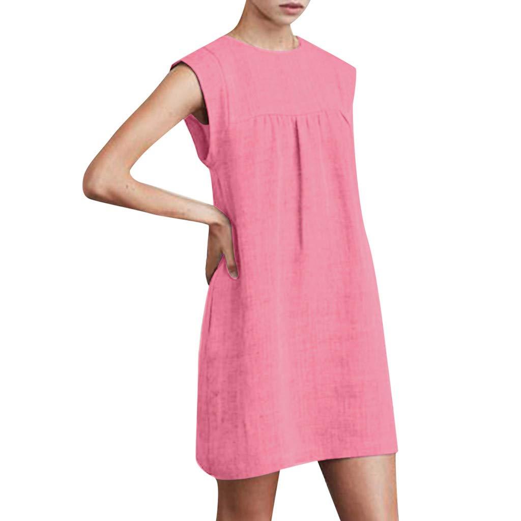 BB67 Women Summer Sleeveless Cotton Linen Casual Solid Tops Dress Beach Dress Pink