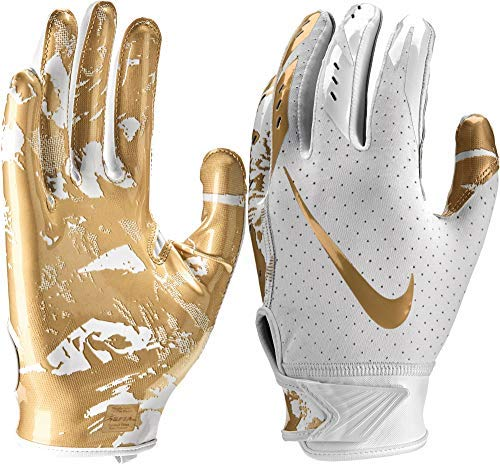 NIKE Youth Vapor Jet 5.0 Receiver Gloves 2018 (White/Metallic Gold, Medium) (Nike Vapor Gloves Football)