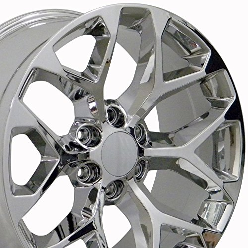 22x9 Wheels Fit GM Truck - GMC Sierra Style Chrome Rims, Hollander 5668 - SET