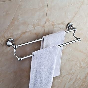 Toalla de baño o cocina Bar titular de Rack de almacenamiento de montaje en pared,organizar todo el estante con toallas y toallas, toallero doble de acero ...