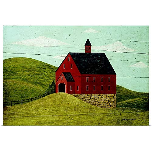 GREATBIGCANVAS Poster Print Entitled Red Welcome Barn by Warren Kimble 18