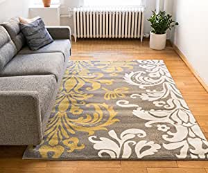 Vavu damask grey gold ivory floral modern area for Dining room rugs 7 x 10