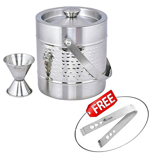 Kosma Stainless Steel Ice Bucket Double Wall 1.5 Litre with Peg Measure Jigger 1 x 2 oz and Ice Tong 5.5'' by Kosma