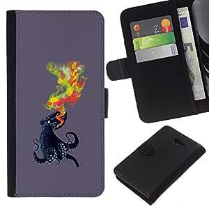 NEECELL GIFT forCITY // Billetera de cuero Caso Cubierta de protección Carcasa / Leather Wallet Case for Sony Xperia M2 // Pulpo Llama