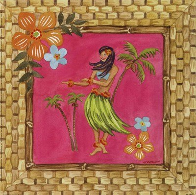Tiki Girl IV by Jennifer Brinley - 9x9 Inches - Art Print Poster