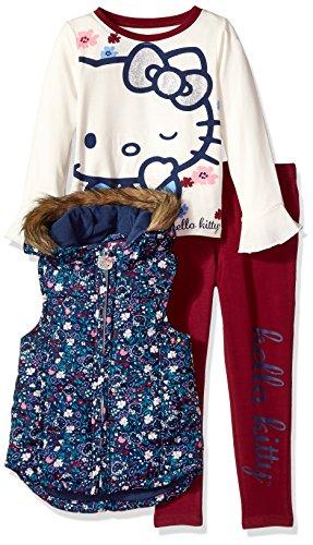 Hello Kitty Big Girls' 3 Piece Tee, Vest, and