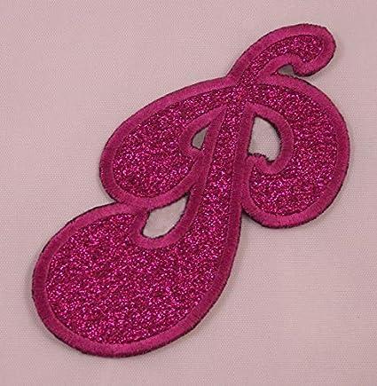 Amazon com: Embroidered Glitter Pink Retro Bubble Monogram Letter P