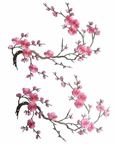 [Two Asian Cherry Blossom Sakura Flower Iron on Embroidered Appliques Patch Japanese Chinese (Pink)] (Pillowcase Dress Costume)