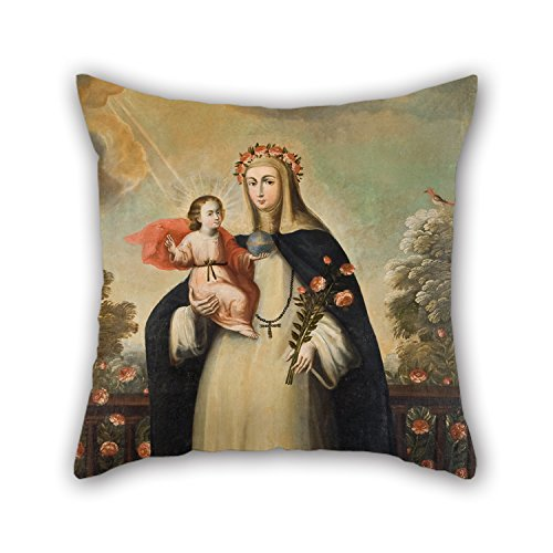 beeyoo Oil Painting Anonymous Cusco School - Saint Rose of Lima with Child Jesus Pillowcase 16 X 16 Inches / 40 by 40 cm for Sofa Festival Bar Study Room Divan Boy Friend with Two Sides