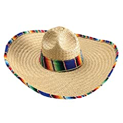 GIFTEXPRESS Mexican Sombrero Hat with Serape Trim - Adults Size  This colorful Mexican sombrero hat is made of natural straw with traditional Spainsh style of serape on the edge of hat. It's perfect for any Cinco de Mayo celebration or caball...