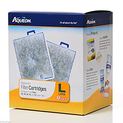AQUEON FILTER CARTRIDGE LARGE. FOR QUIET FLOW 20.30.50,55 & 75 FILTERS. 12Pack from Aqueon