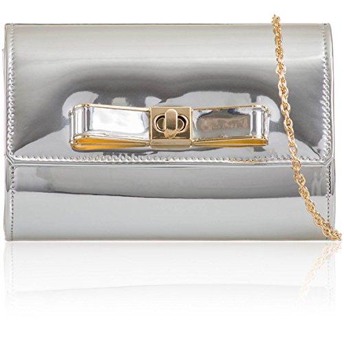 Xardi London–Espejo metálico mujeres embrague novia Prom regalo mujer patentes bolsa de noche plata