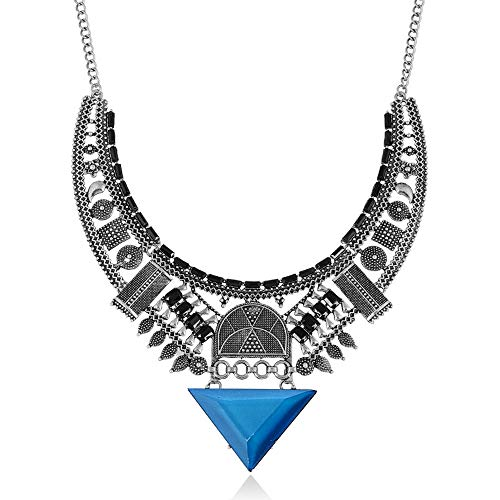 Rhinestone Fringe Necklace - MJartoria Carnival Ethnic Tribal Boho Rhinestone Mulicolor Beads Coin Fringe Statement Necklace (B-Blue)