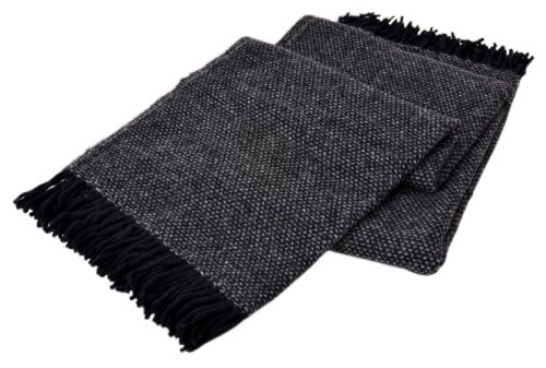 Creswick Australian Mills All-Natural Alpaca/Wool 52 by 71-Inch Fringed Throw, Cobblestone Black/Grey