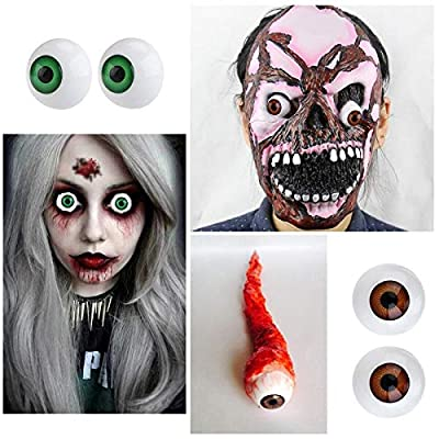 Tvoip 8Pcs Hollow Eyeball Mask Halloween Horror Props Halloween Eyes Scary Eyes Fit Into Mask Skull Costume for Halloween Party Favors (26mm): Toys & Games