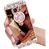 Galaxy S7 Edge Case,Vandot Luxury Crystal Rhinestone Soft TPU Rubber Bumper Ultra Thin Slim Fit 3D Bling Diamond Glitter Mirror Makeup Case Cover with 360 Degree Ring Stand Holder-Rose Gold