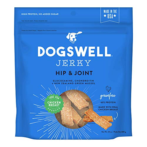 DOGSWELL Hip & Joint 100% Meat Dog Treats, Grain Free, Glucosamine Chondroitin & Omega 3, Chicken Jerky 24 - Strips Jerky Vegetables