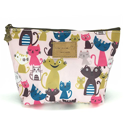 HUNGER Pink Cats Print Make-Up Cosmetic Bag Carry Case , 14 Patterns (P11417012)