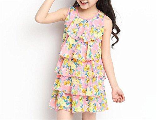 Doris Batchelor Elegant Baby Girl Sleeveless Dress Chiffon Cool Summer Floral Flower Draped DressesPink 6 -