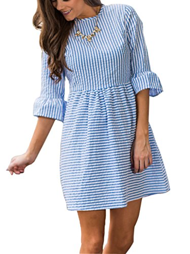 Famulily Women's Stripe Flounce Sleeve Seersucker Skater Dress(Large,Blue) - Summer Seersucker