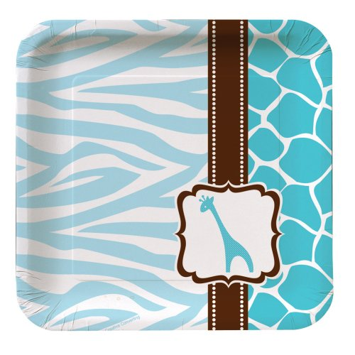 (Creative Converting Baby Shower Wild Safari Blue 8 Count Paper Lunch)