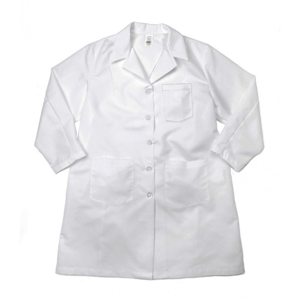 Pinnacle Textile L17M 5.25 OZ POPLIN 65//35 Polyester//Cotton BUTTONS-4X-Large-White Pinnacle Textiles L17M-4XL-WH Male LAB Coat