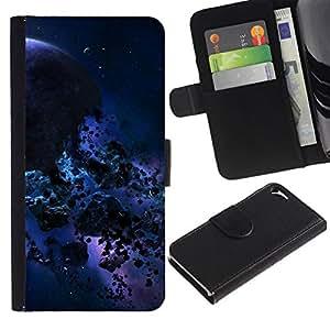 // PHONE CASE GIFT // Moda Estuche Funda de Cuero Billetera Tarjeta de crédito dinero bolsa Cubierta de proteccion Caso Apple Iphone 5 / 5S / Blue Meteor Space /