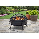 30'' Steel Fire Pit With Solid Bowl Cauldron, Antique Bronze