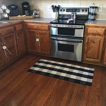 Ukeler Buffalo Plaid Rugs- Machine Washable Black and White Checkered Plaid Rug Hand-Woven Buffalo Checkered Kitchen Runner Rugs 24''x51''