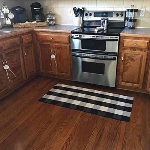 Ukeler Buffalo Plaid Rugs- Machine Washable Black and White Checkered Plaid Rug Hand-Woven Buffalo Checkered Kitchen Runner Rugs 24''x51''