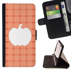 For Sony Xperia Z1 L39 Case , Plaid Melocotón Naranja de Halloween- la tarjeta de Crédito Slots PU Funda de cuero Monedero caso cubierta de piel
