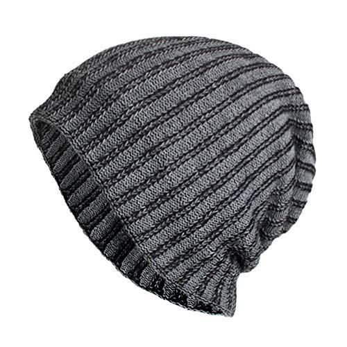 WUAI Clearance Deals,Women Men Flexfit Hats Warm Baggy Knit Stripe Ski Slouchy Beanie Fashion Skull Cap (Gray)