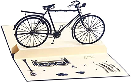 MoGist Tarjeta 3D desplegable de bicicleta retro tridimensional, tarjeta de regalo, tarjeta de agradecimiento, tarjeta de cumpleaños